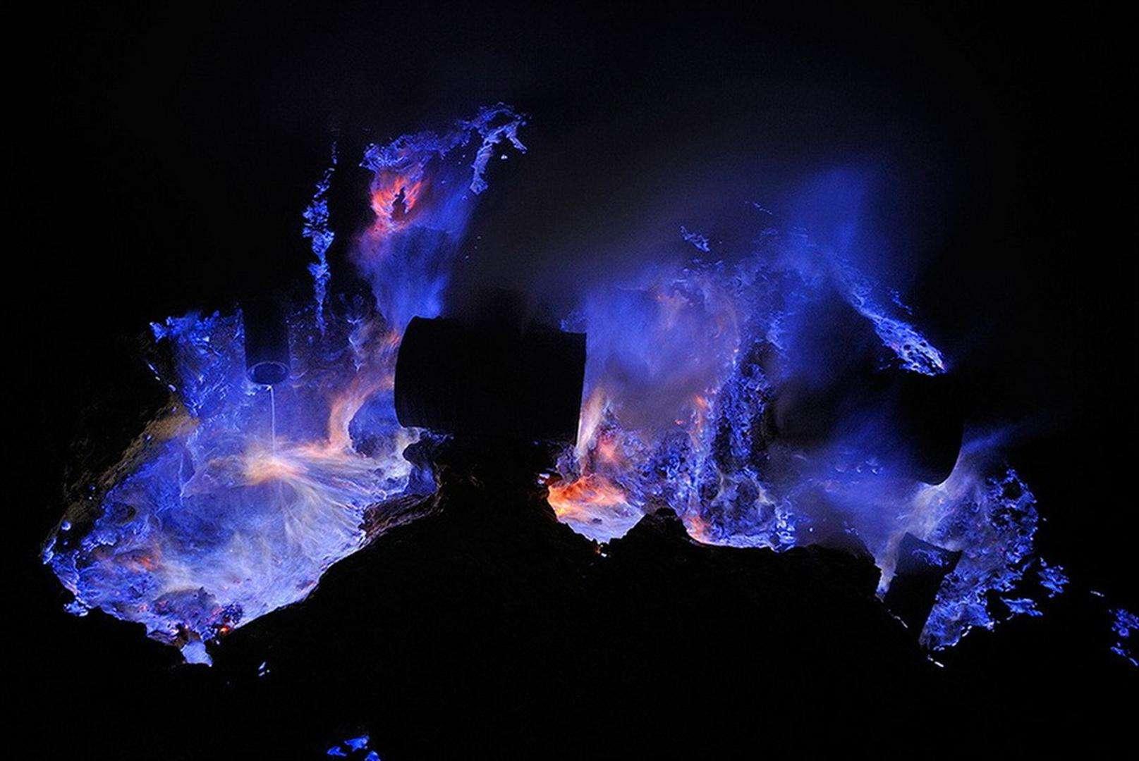 Volcano blue flames