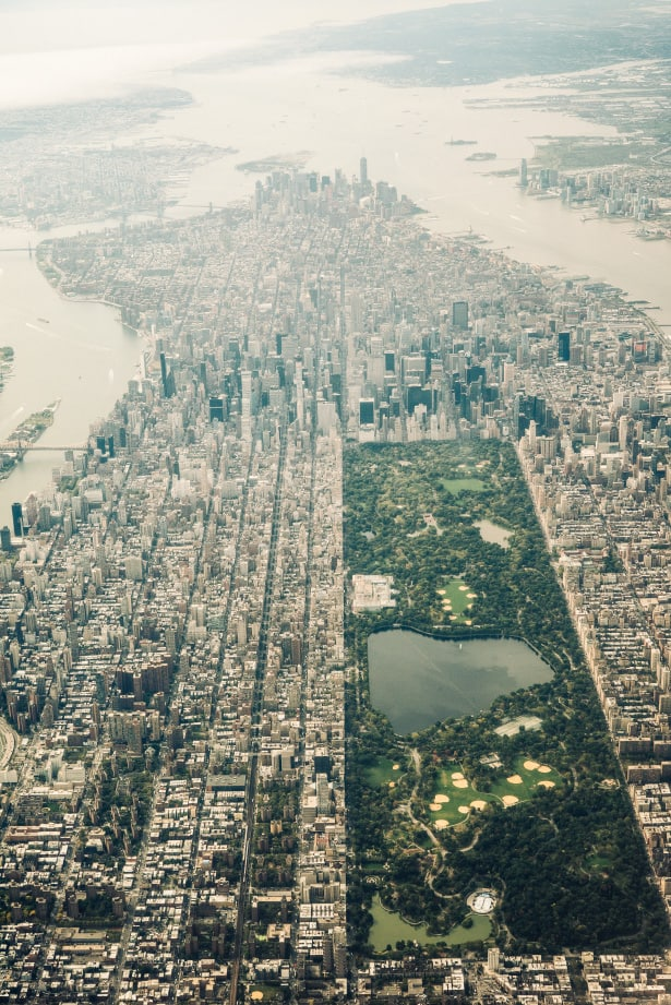 A look at Manhattan as it was from the window of an airplane