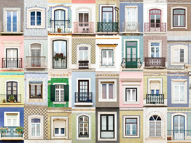 Windows of Sesimbra, Portugal