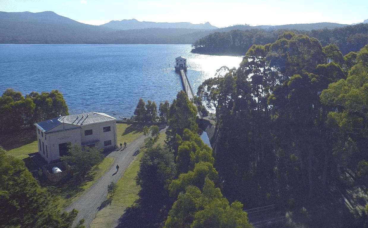 Aerial view of Pumphouse Point, Tasmania