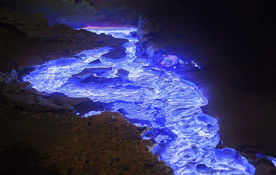 blue lava volcano indonesia
