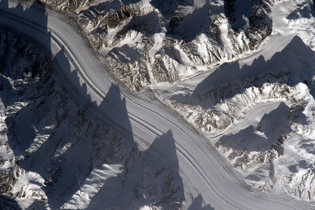Glaciers in Tajikistan seen from space.