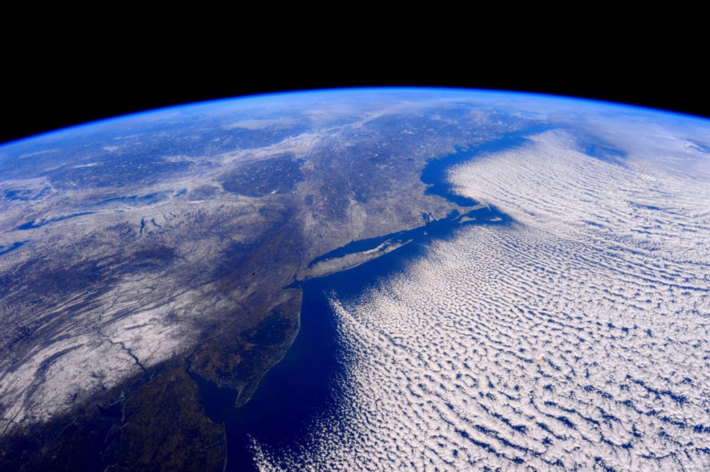 Cold weather and cloud formations off the east coast of North America seen from space.