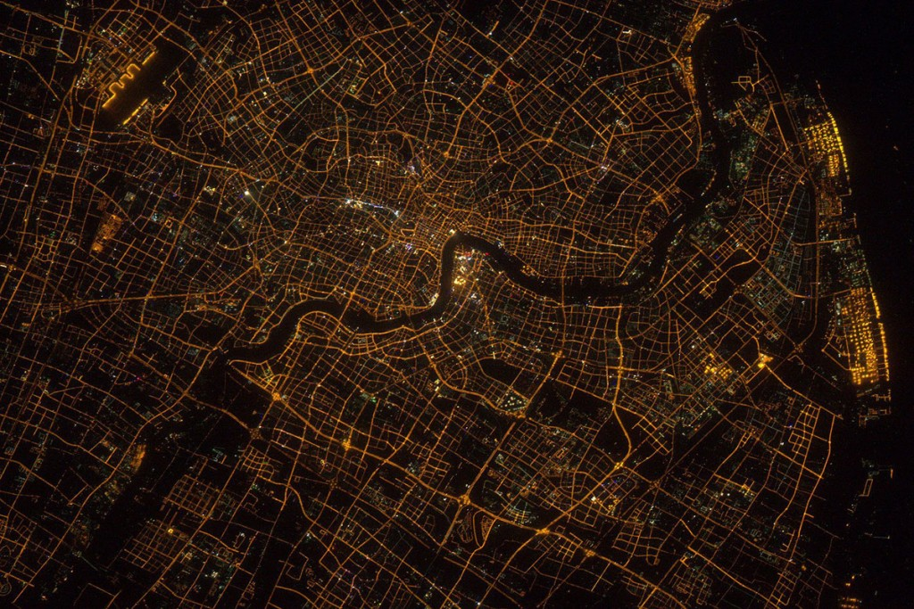 Shanghai, China, at night, seen from the Intarnational Space Station