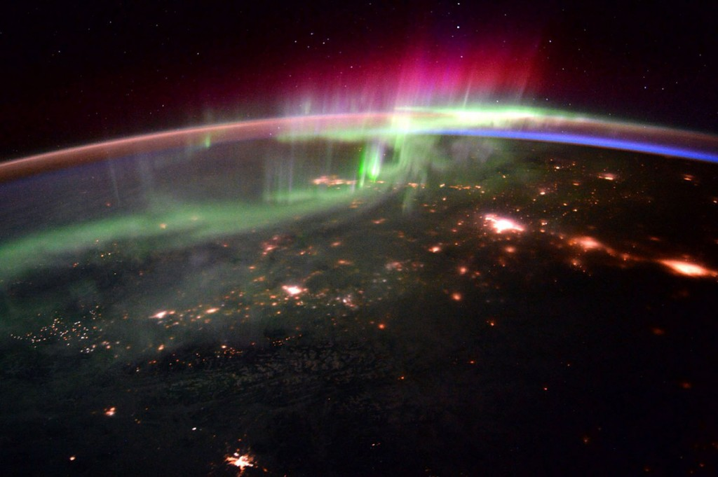 Aurora Borealis over the Pacific Northwest seen from space.