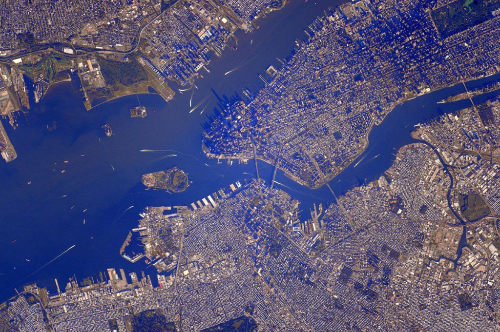 New York City seen from space. Shot from ISS by Scott Kelly