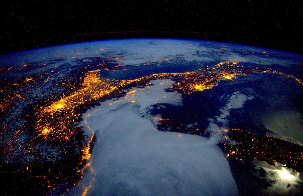 Italy and the Alps seen from space.