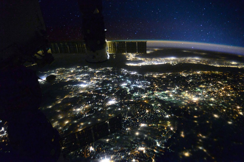Macedonia, Europe at night, seen from space