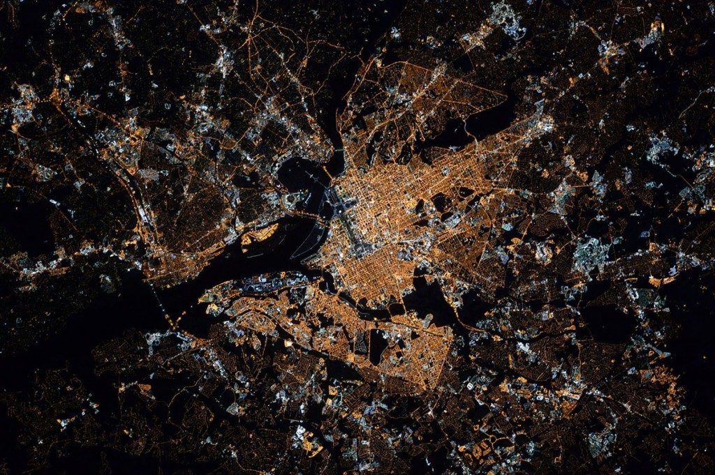Washington, D.C. at night shot from the International Space Station by Scott Kelly.