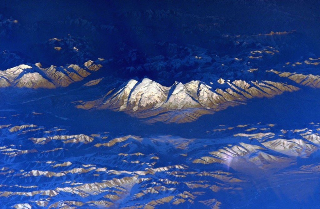 An oblique mountain view from the International Space Station.