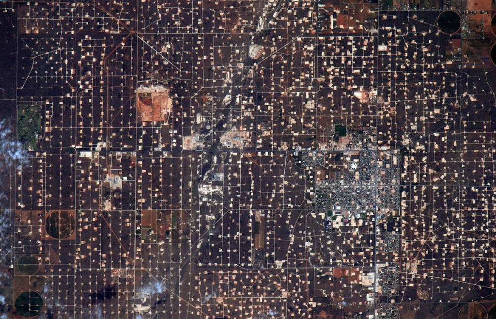 Oil fields in West Texas seen from the International Space Station