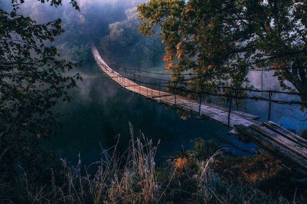 Wooden bridge in Bransk, Russia