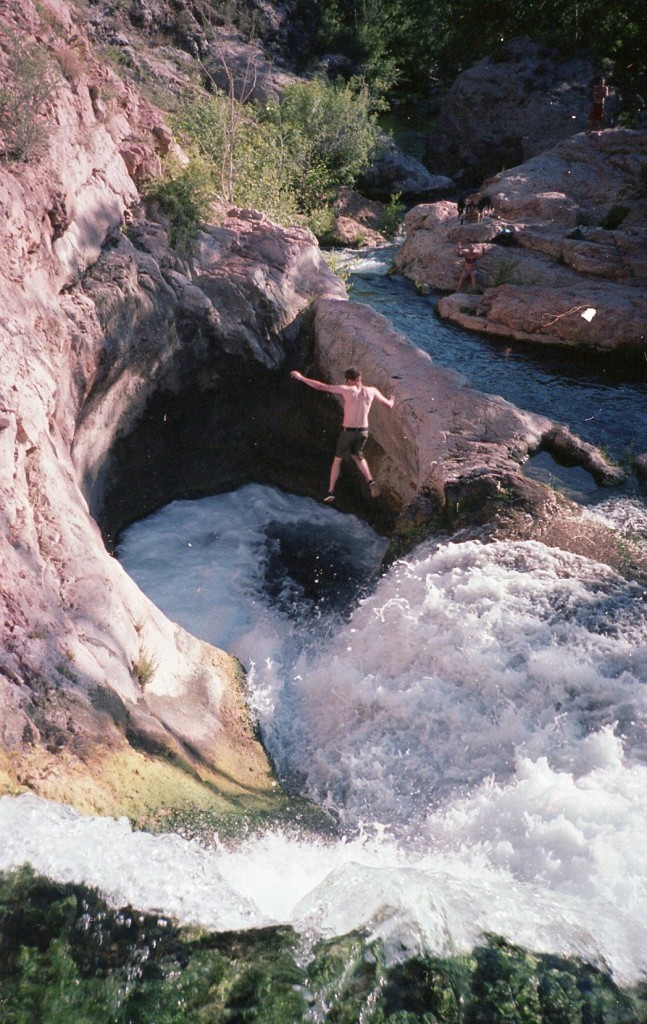 Jumping into The Toilet Bowl, Fossil Springs, Arizona