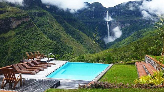 Pool with view over Gocta Waterfall, Peru