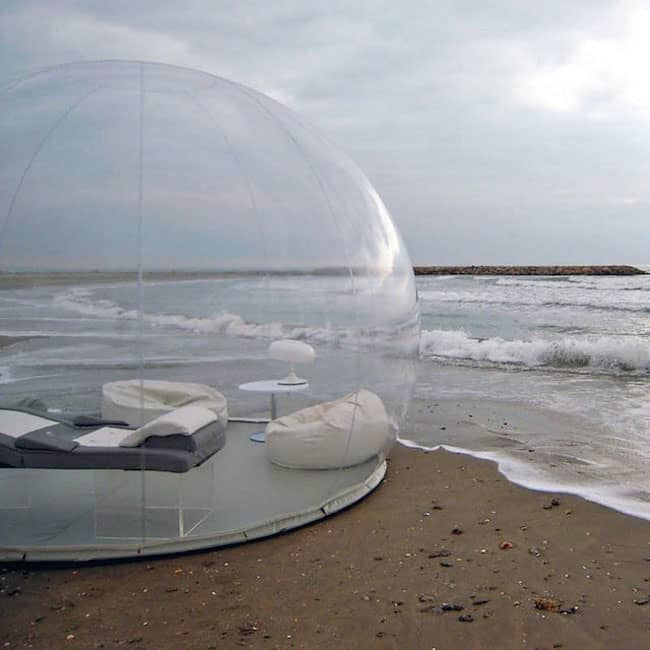 The transparent tent can be set up anywhere, but take care, it doesn't float.