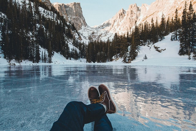 Chilling on frozen lake