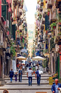 A crowded colorful street, shot on Via Chiaia in Naples, Italy.