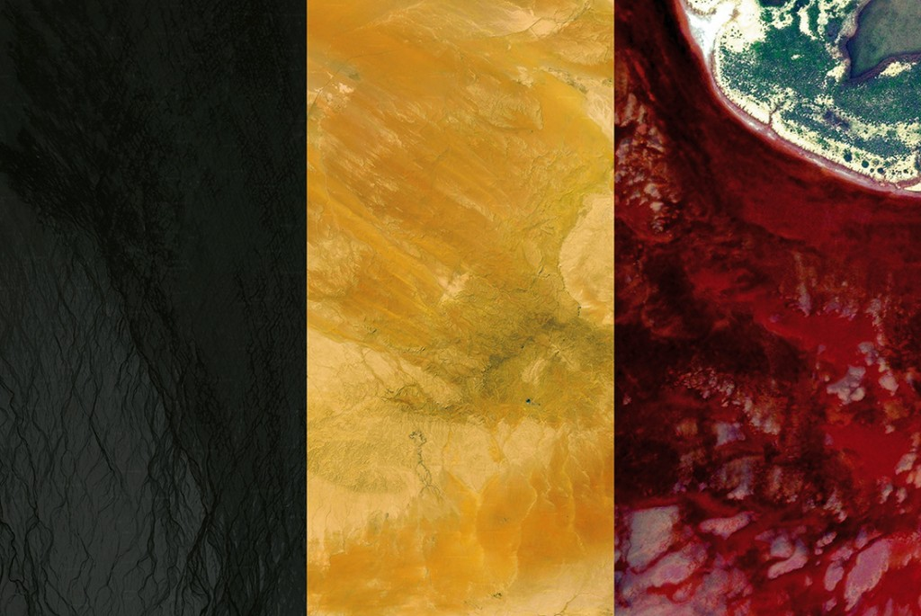 Belgian flag. Satellite photography from Iceland, Syria, Australia