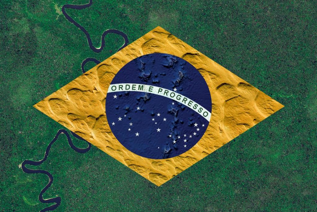 Brazilian flag. Satellite photography from Indonesia, Saudi Arabia, Oceania, Greenland