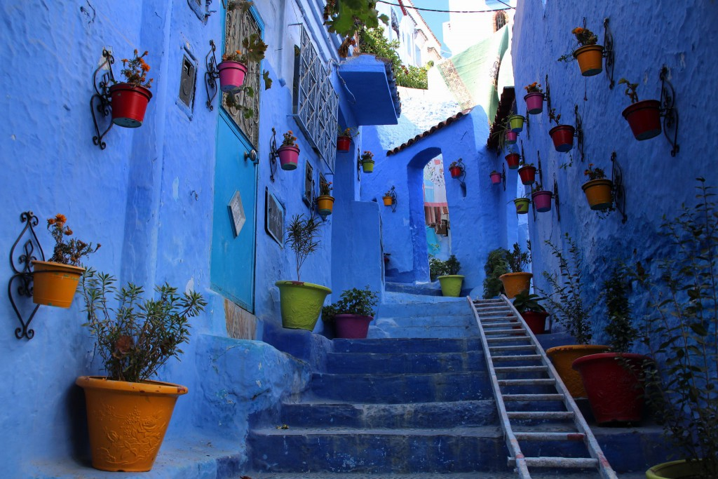 The blue city of Chefchaouen, Morocco was painted this way as it is believed that this shade can repel mosquitoes.