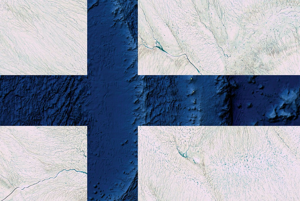 Finland flag. Satellite photography from Greenland, Oceania