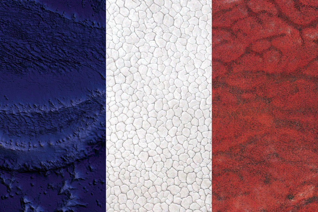 France's flag — Satellite Photography: Pacific Ocean, Kazakhstan, Kenya, 2016