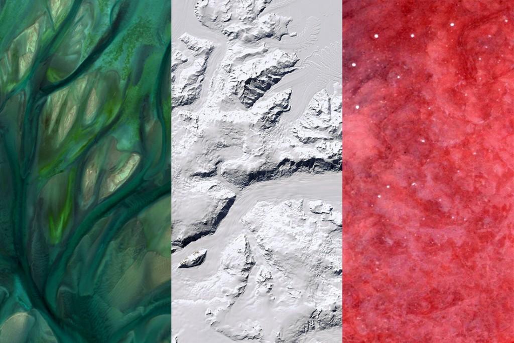 Italy's flag - Satellite Photography: Quatar, Antarctica, Namibia, 2016