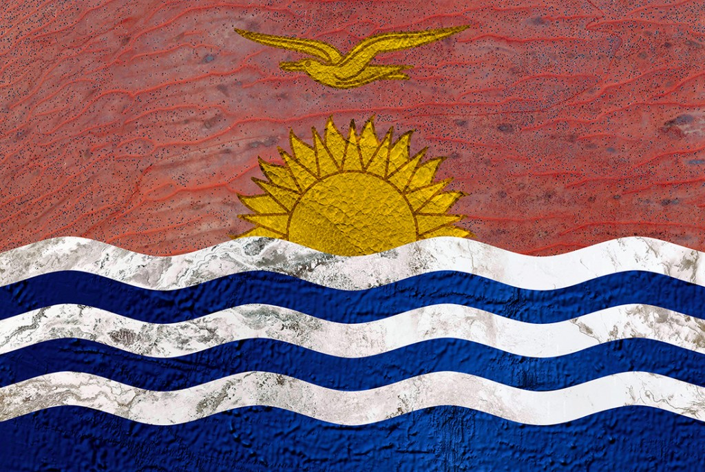 Kiribati's flag. Kiribati is an island republic in the central Pacific. Go search for it on a map!