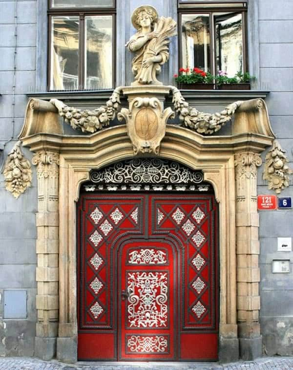 Red door in Prague