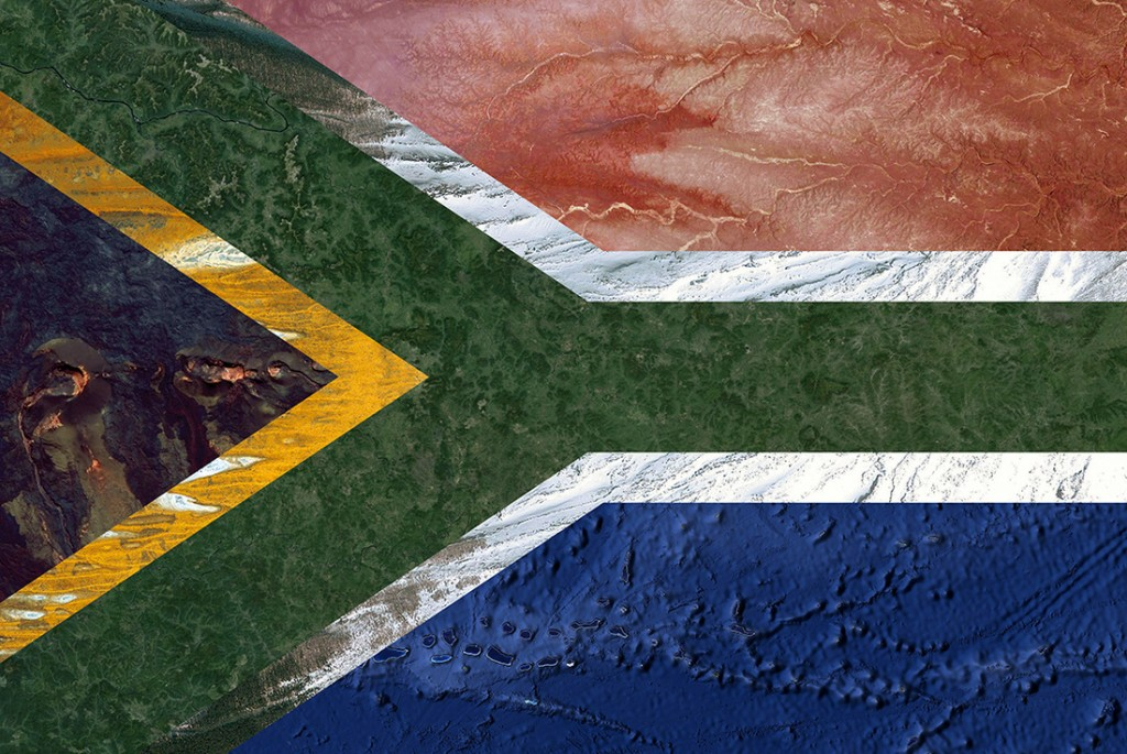 South African flag - Satellite photography: Hawaii, Australia, Russia, Japan, Iraq, Oceania