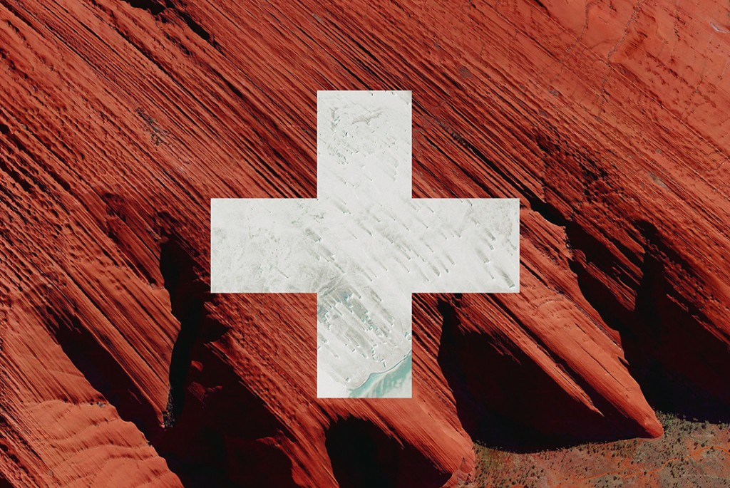 Swiss flag - satellite photography: Australia, Antarctica
