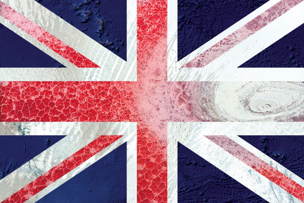 UK flag — satellite photography: oceania, greenland, tanzania