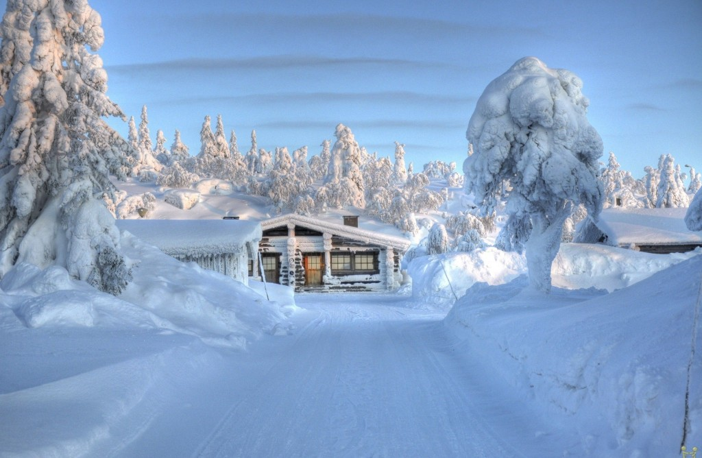Finland. Not always covered in snow, but when it is, it sure is Santas home - Lapland is in Finland