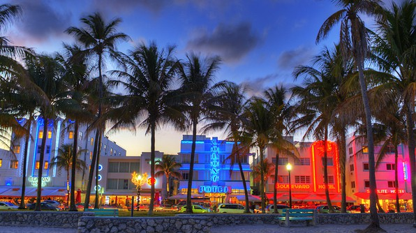 View of South Beach, Miami at Dusk