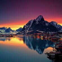 A summer midnight sun in Reine, Lofoten Island