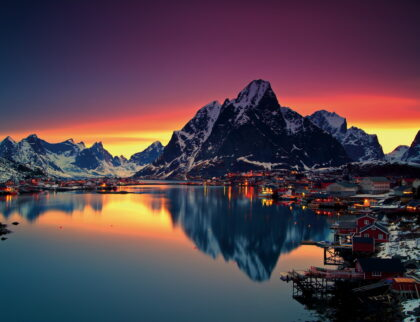 A summer midnight sun in Reine, Lofoten Island