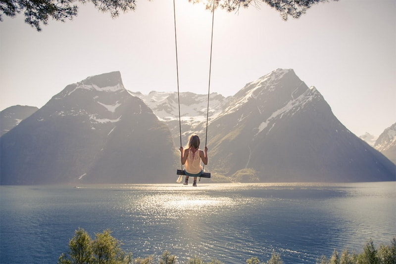A Swing In Hjorundfjord Norway