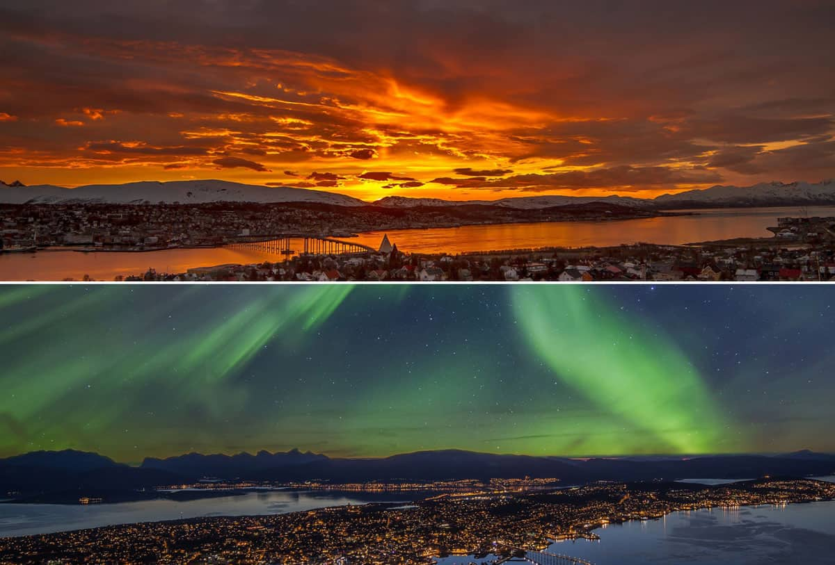 Tromso panorama. Up -midnight sun, down - northern lights