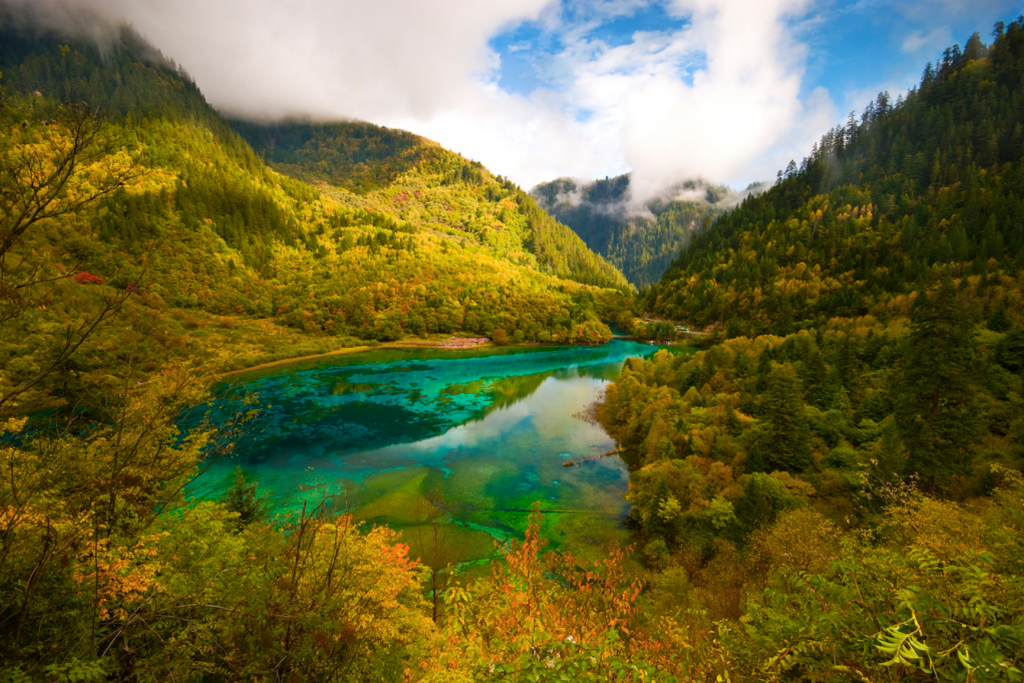 Clear water lake in JIUZHAIGOU National Park, China