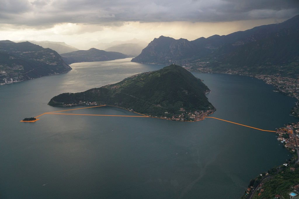 Seen from above - The Floating Piers art installation, Lake Iseo, Italy. Photo Wolfgang Volz