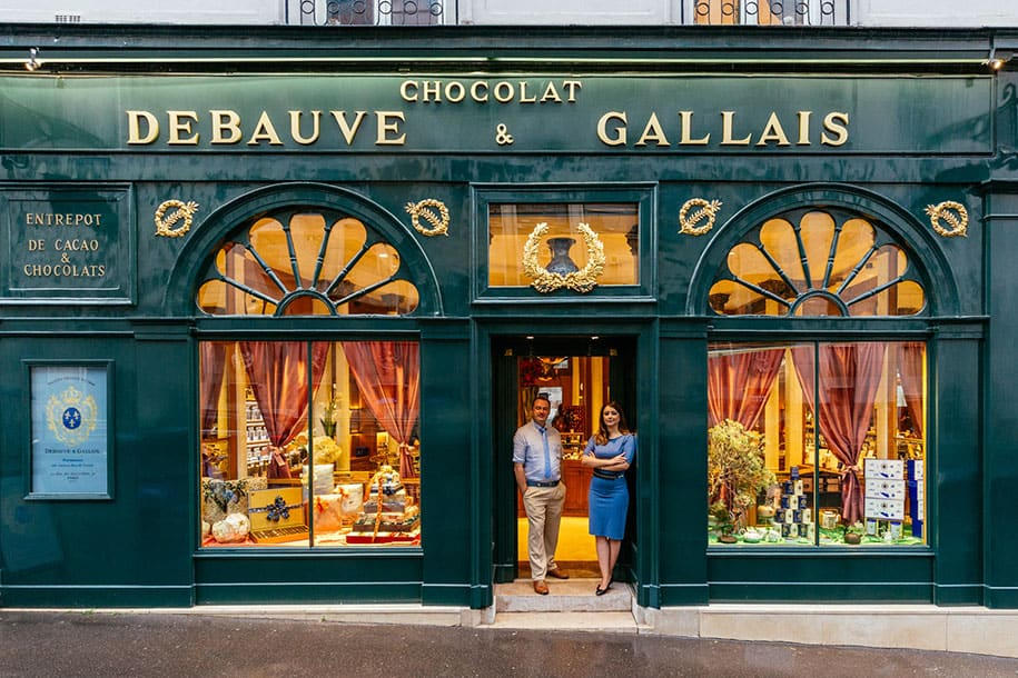 Bernard Poussin (left) and Diane Junique (right) in front of their two-centuries-old chocolaterie