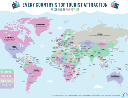 These Are The Top Tourist Attractions in Every Country Map