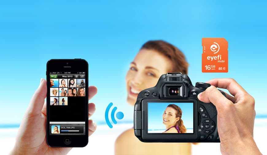 Mobi EyeFi SD card wifi photo transfer from photo camera to smartphone