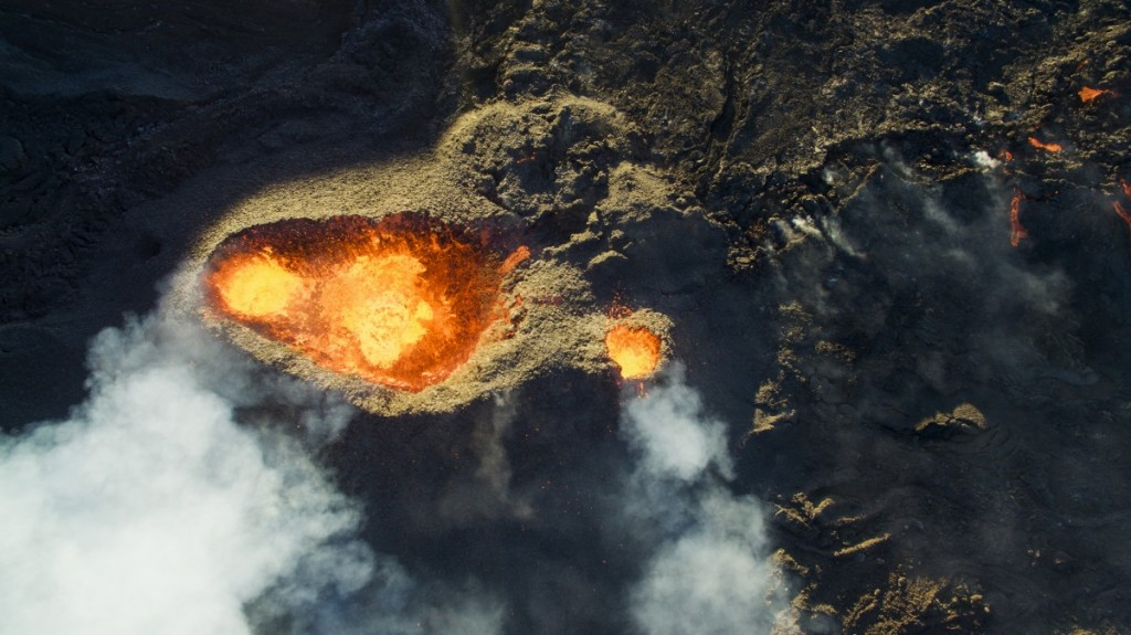 The first aerial view above an erupting volcano in Reunion Island by drone. Piton de la Fournaise Volcano