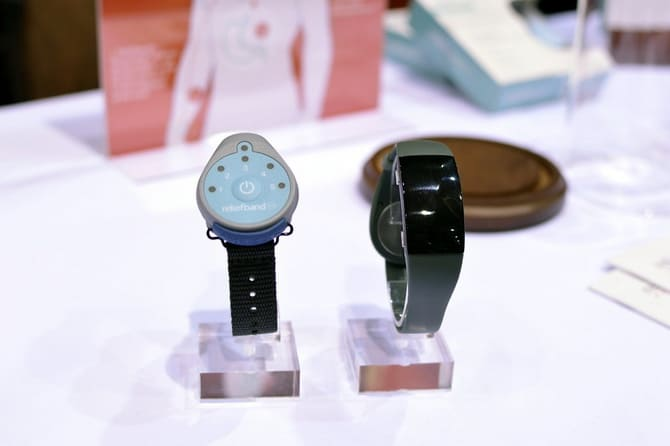 Reliefband Neruowave. You can get the first version (left) now for $95. The second version (right) will be released later this year.